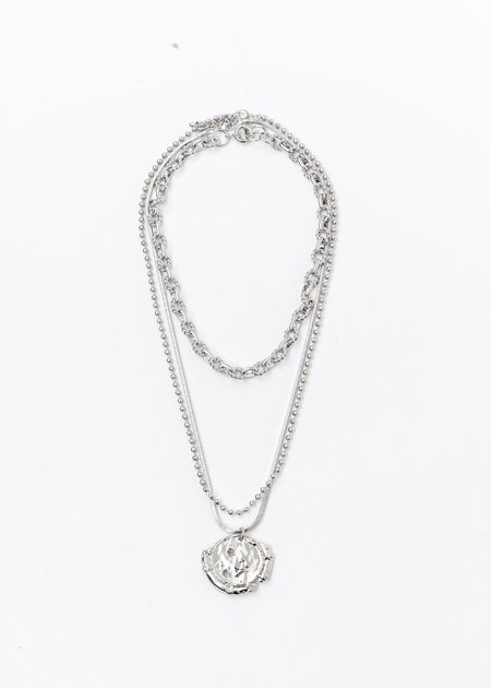 DEPARTMENT Mix Chains Necklace With Coin - Silver