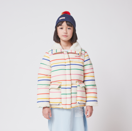 kids Bobo Choses Multi Color Stripes Padded Puffer Jacket - Jet Stream
