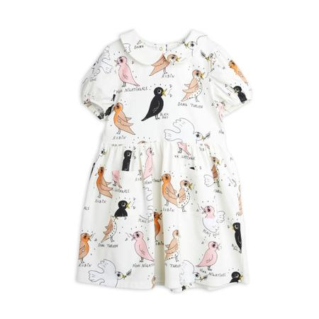 Kids mini rodini birdswatching aop puff sleeve dress - off white