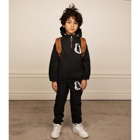 kids mini rodini blackbird halfzip hoodie - black