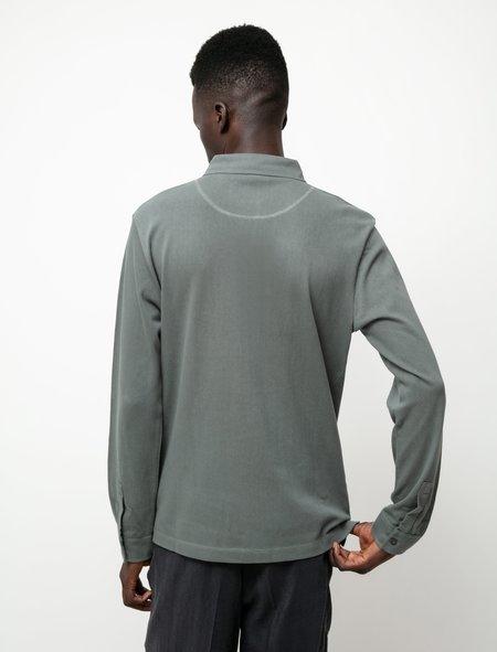 Sunspel LS Polo Shirt - Smoke Green