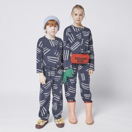 Kids Bobo Choses Scratch Print Fleece Jumpsuit - Navy Blue