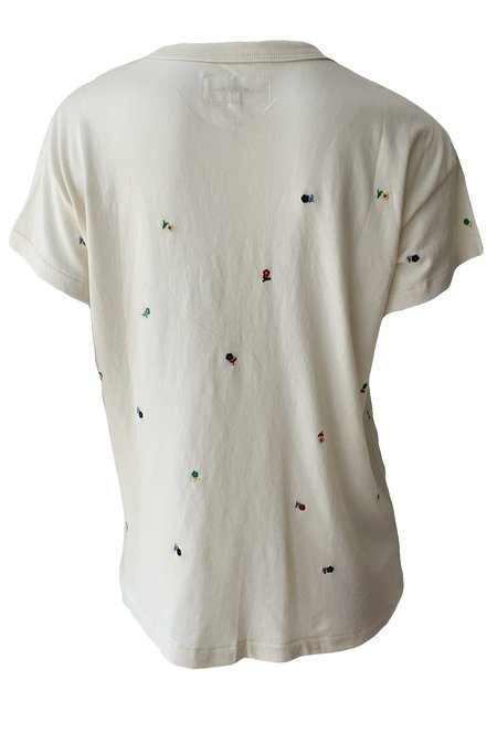 The Great. Boxy Ditsy Floral Crew Top - Washed White