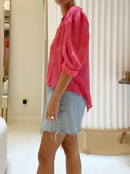 Collina Strada Rose Sylk Princess Button Up - Pink Flower Drip