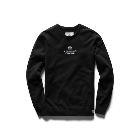 Reigning Champ Mid Weight Lockup Relaxed Fit Pullover Crewneck - Black