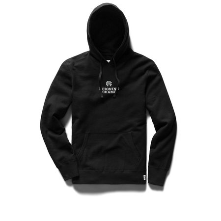 Reigning Champ Mid Weight Lockup Relaxed Fit Pullover Hoodie - Black