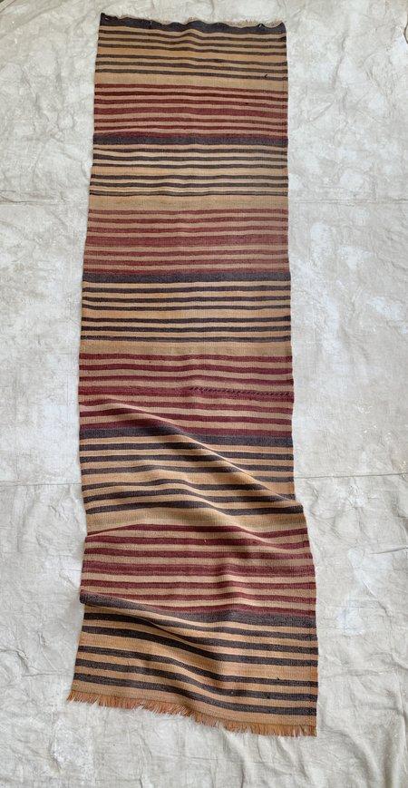 Vintage Wool Kilim Runner Rug - Charcoal/Wine