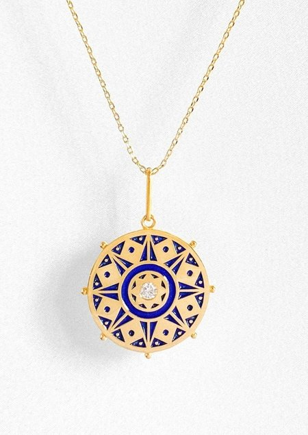 Thatch Karmic Wheel Necklace with Blue Enamel
