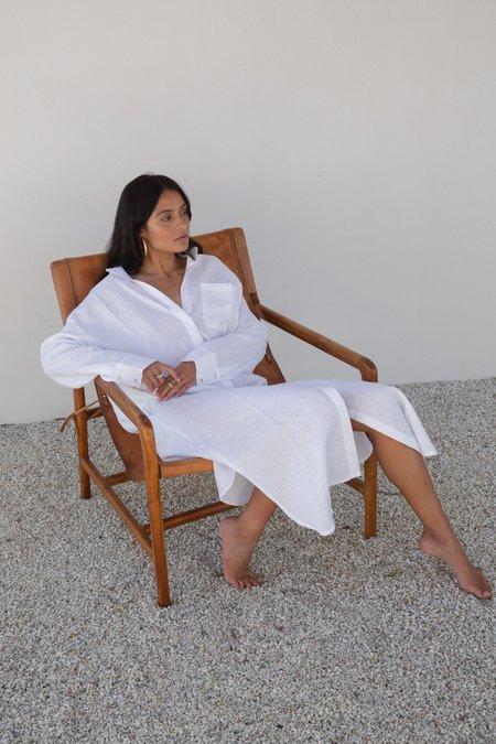 BAHHGOOSE INGE BUTTON UP DRESS - WHITE