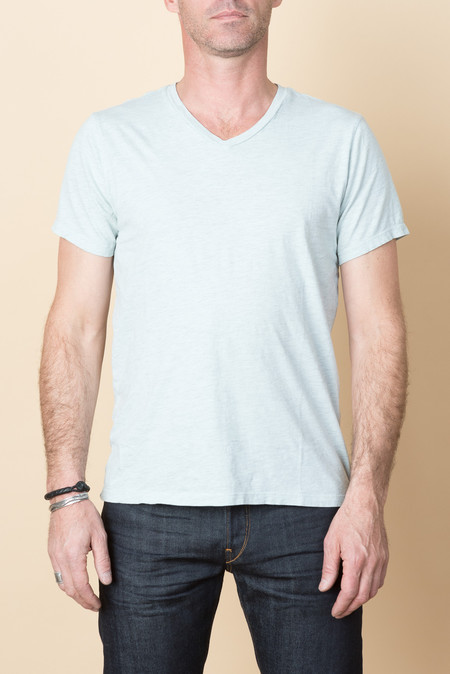 Save Khaki S/S Oatmeal Heather V-Neck Tee In Water