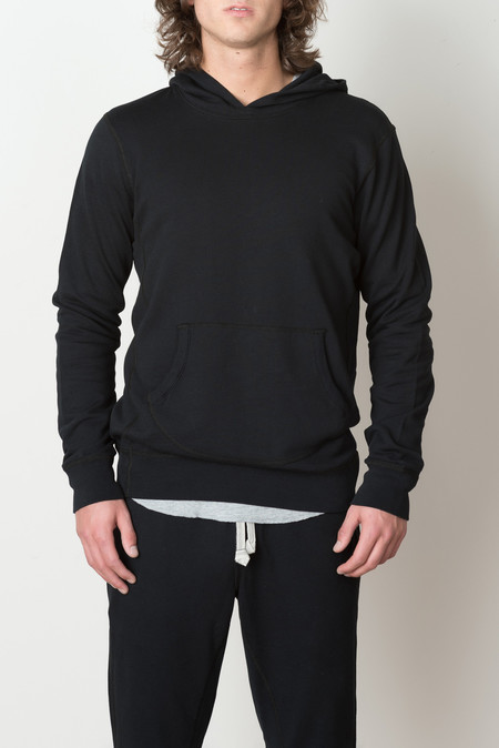 Wings + Horns Terry Pullover Hoodie In Black