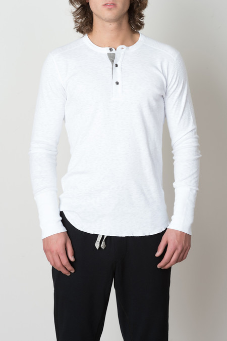 Wings + Horns 1x1 Slub Rib L/S Henley In White