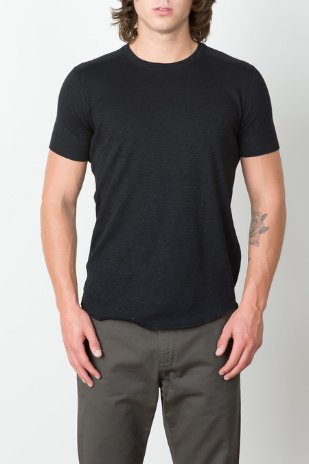 Wings + Horns 1x1 Slub Rib S/S Crew In Black