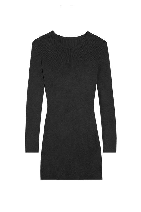 KES Knitted Cashmere Long Sleeve Mini Dress - Black