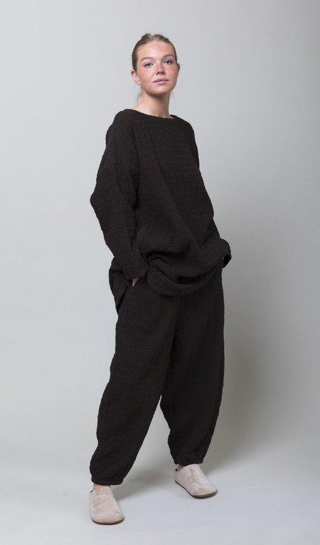 Black Crane Quilted Wide Pants - Dark Grey