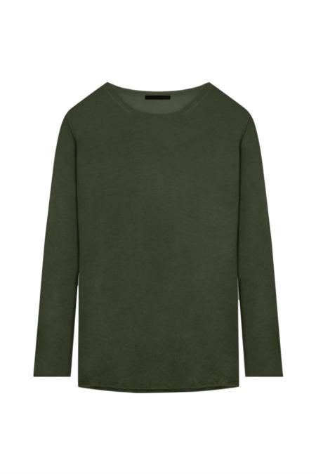 KES Ultra Fine Cashmere Long Sleeve Shirt - Dark Military