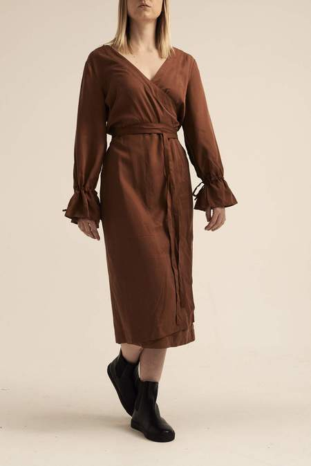 Lois Hazel Up-cycled Wrap Dress - Brown