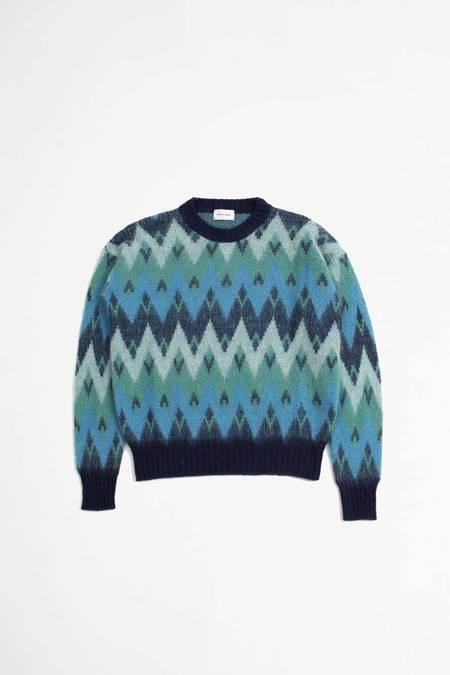Unisex Scaglione round neck zigzag jacquard Pullover - turquoise