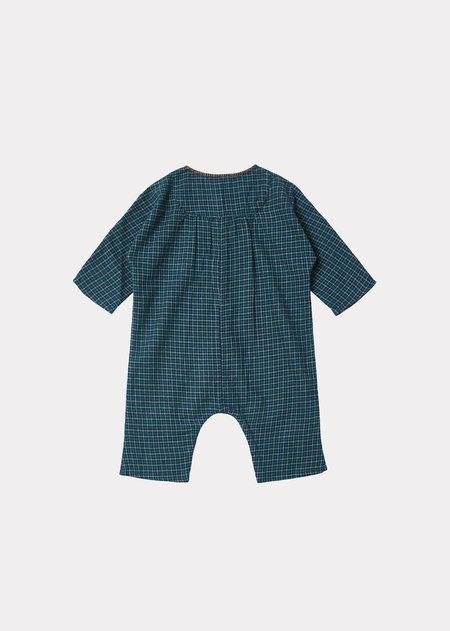 Kids Caramel Enya Baby Romper - Blue Green Check