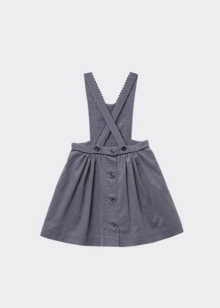 Kids Caramel Furren Pinafore - Dove Grey