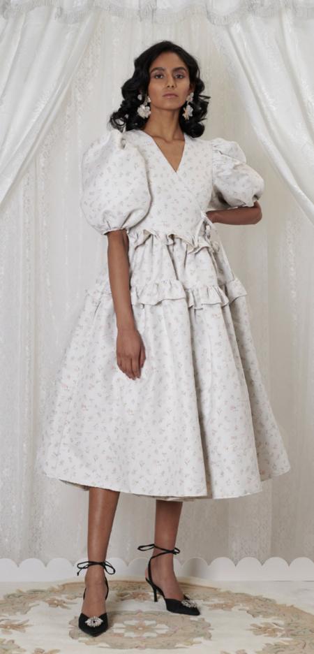Sister Jane Betsy Jacquard Midi Wrap Dress - Cool Grey