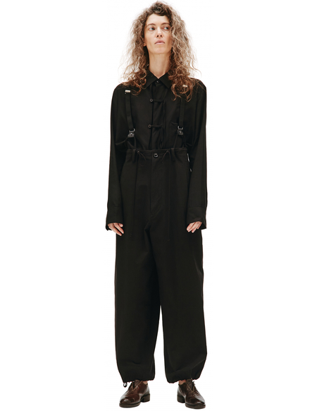 Y's Black Loose Fit Suspender Trousers