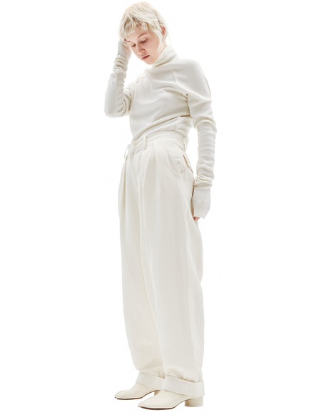 Y's Ivory Linen & Cotton Baggy Trousers