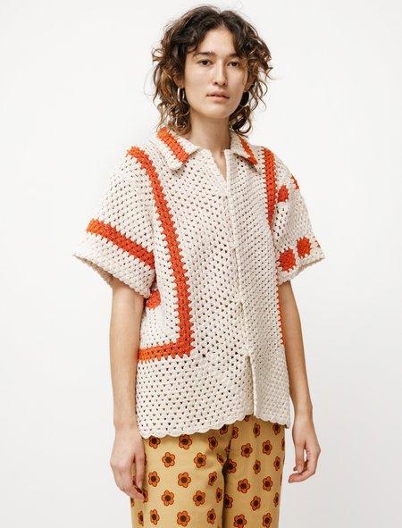BODE Sunspot Crochet SS Shirt - White