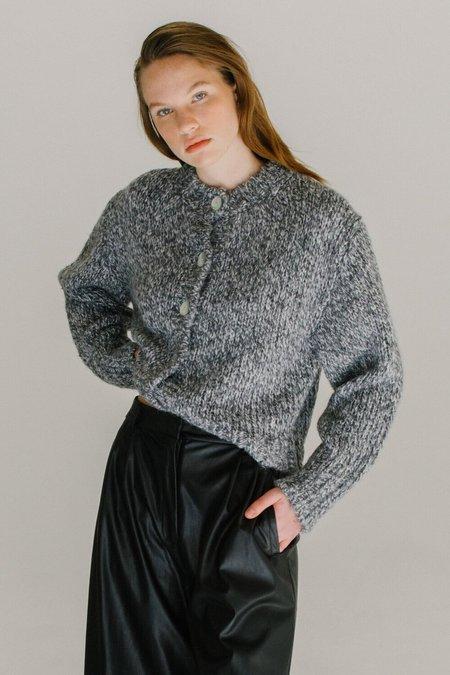 Melange Knit Short Cardigan - Grey