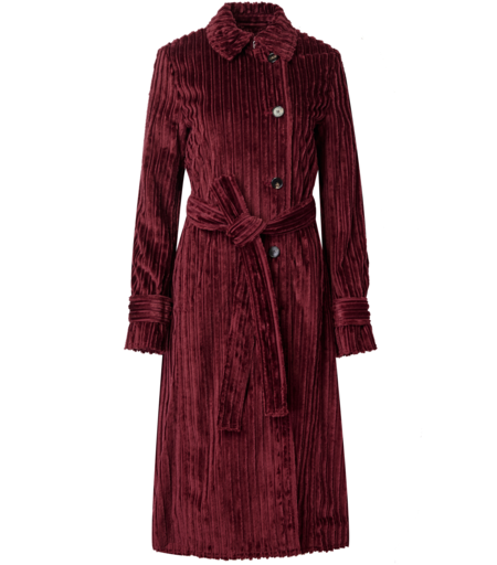 Victoria Beckham Belted Cord Trench Coat - Iron Red