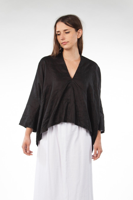 Miranda Bennett Studio Muse Top, Linen in Black