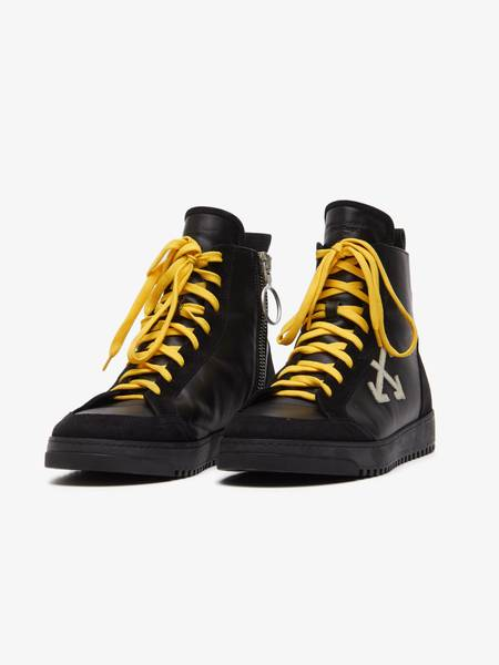 """[Pre-Loved] Off-White Male """"Cup Sole"""" Black Leather High Sneakers"""