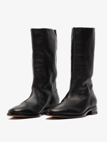 [Pre -Loved] Saint Laurent Paris Officer Side Zip High Leather Boots - Black