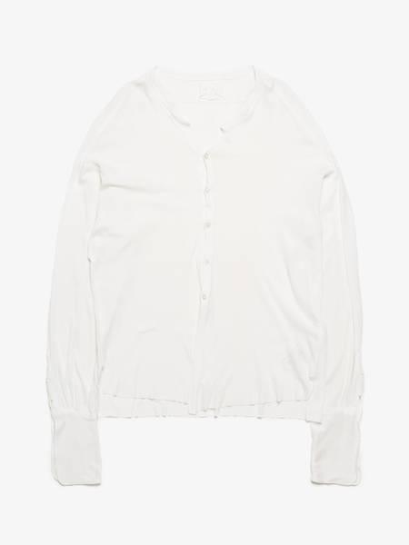 pre-loved Greg Lauren Distressed Hem Lounge Studio Cotton Shirt - Milk