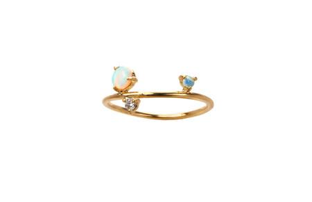 WWAKE Three Step Ballon Opal and Diamond Ring