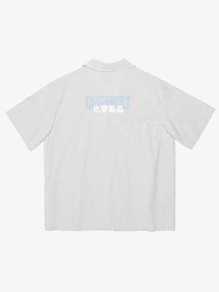 Pre-loved C2h4 Short Sleeve Contrast Detailed Zip-Up Shirt - light gray