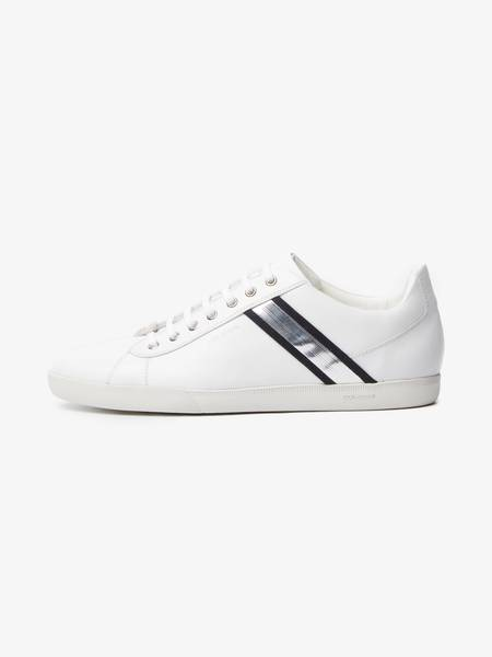 [Pre-Loved] Dior Male White Silver Detailed  Leather Low Top Sneakers