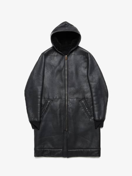 Rick Owens M Front Zipped Black Hooded Olmar And Mirta Sheepskin Coat