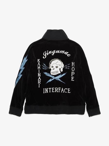 Miharayasuhiro Black Velour Skull Printed Embroidered Zipped Jacket
