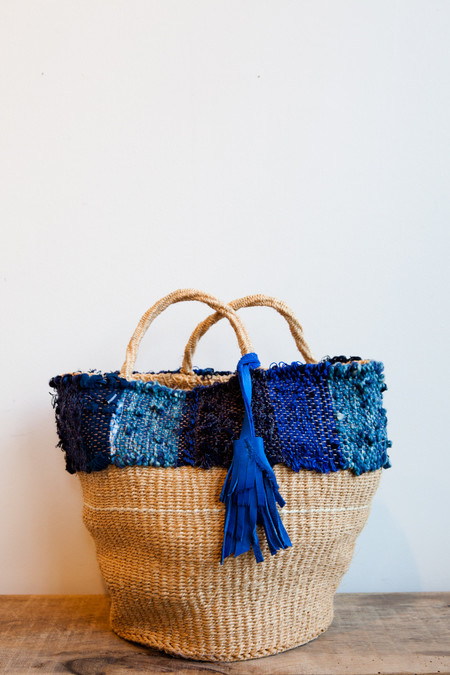 All Roads Basket Tote in Indigo