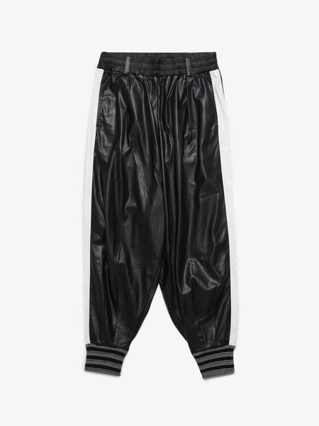 [Pre - Loved] Miharayasuhiro Male Faux Leather White Striped Track Pants - Black