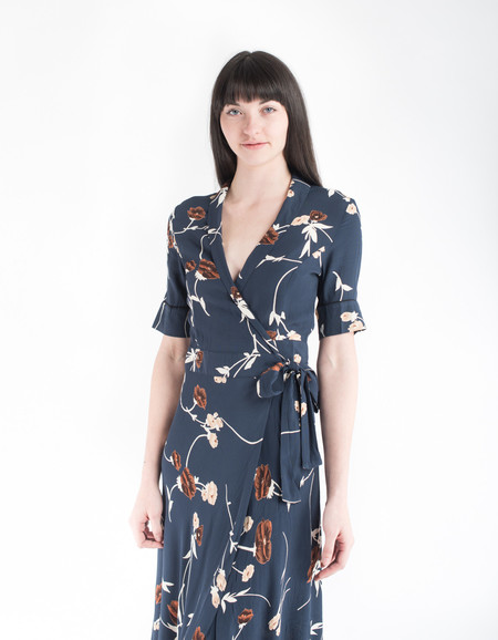 Ganni Dalton Crepe Wrap Dress Total Eclipse
