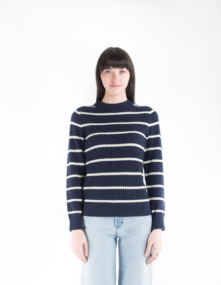 Ganni Mercer Striped Pullover Total Eclipse Vanilla Ice