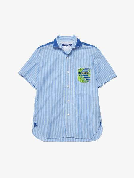 [Pre-Loved] Comme Des Garcons Junya Watanabe Male Light Blue Striped Shortsleeved Chest Pocket Detailed Cotton Shirt