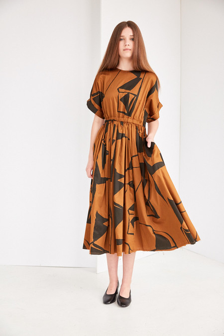 Black Crane Pleated Dress in Print (Teak/Black)