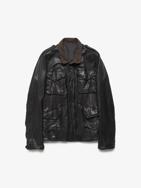 Rick Owens M Black Brown Lining Pocket Leather Jacket