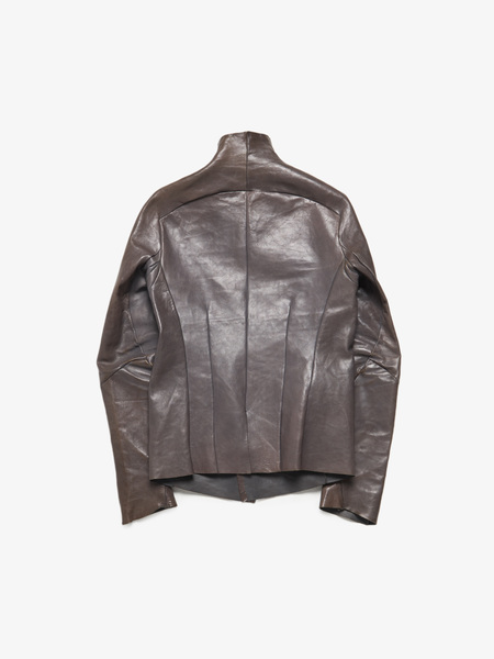 [Pre-Loved] Other Male Ad Vitam Brown Stand Collar Leather Jacket