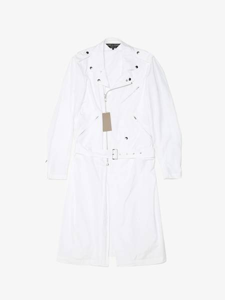 [Pre-Loved] Comme Des Garcons Homme Plus Male White Perfecto Detailed Cotton Elongated Jacket