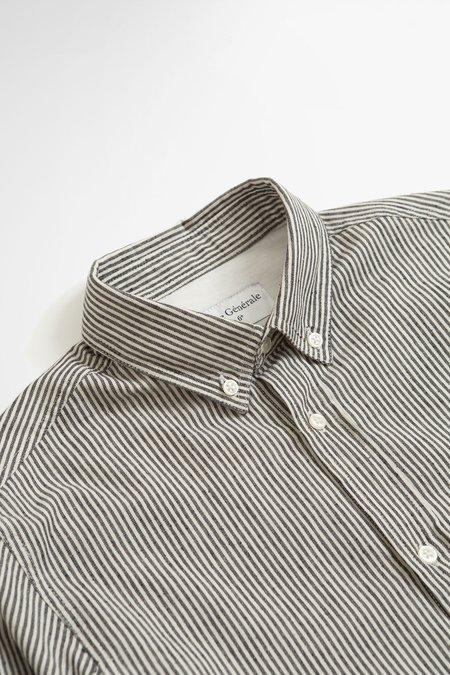 Officine Generale Arsene striped cotton shirt  - ecru/navy