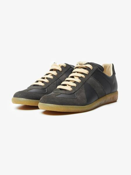 [Pre-Loved] Maison Margiela Replica Neoprene and Leather Low Top Sneakers - Black/Gray